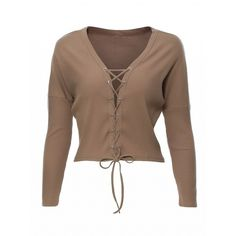 Choies Khaki Plunge Neck Lace Up Front Knit Cropped Jumper ($16) ❤ liked on Polyvore featuring tops, sweaters, khaki, brown tops, cut-out crop tops, knit top, lace up top and brown knit sweater