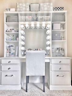 Room Design Bedroom, Room Ideas Bedroom, Diy Bedroom Decor, Beauty Room Decor, Makeup Room Decor, Makeup Vanity With Drawers, Ikea Makeup Vanity, Corner Makeup Vanity, Beauty Vanity