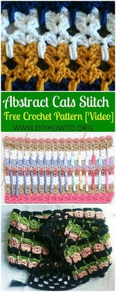 Crochet Abstract Cats Stitch Free Pattern [With Video Instruction]: #Crochet Kitties In A Row Stitch, Crochet Kitty Cat Stitch Afgan Blanket via @diyhowto