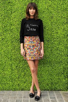 Alexa Chung ~ A-line skirt and loafers