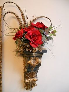 Decorative Wall Sconces For Flowers ornate silk flower wall sconce. add class and style to any wall
