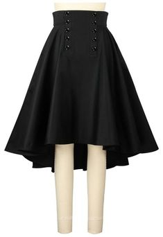 Steampunk black skirt hi low
