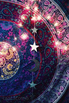 Gold Moon & Stars Wall Hanging Decor $18 | Lady Scorpio Inspire your Inner Gypsy | Bohemian Mandala Tapestries || Bedroom Inspiration