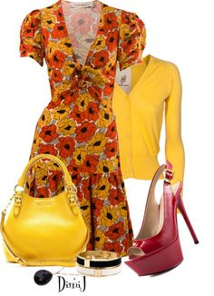 40's style dress, yellow cardigan red shoes.