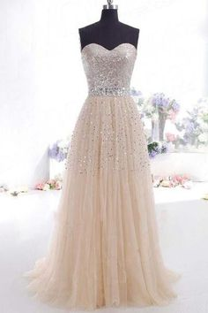 AHP309 A-line Sweetheart Neck Gold Lace Appliqued Bodice Prom Dresses 2017