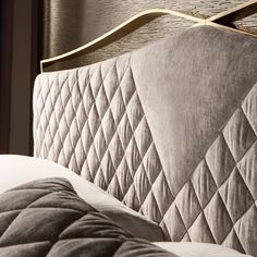 Quilted Nubuck Italian Designer Bed With Footboard - Juliettes Interiors Bed Headboard Design, Headboard And Footboard, Headboards For Beds, Luxury Bedroom Design, Master Bedroom Design, Bedroom Designs, Bed Back Design, Double Bed Designs, Bedroom Decor
