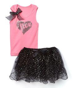 Pink & Black Glitter 'Five' Tank & Tutu Set - Girls