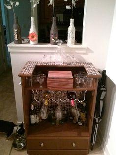 Homemade bar out of a dresser #homemade #diy #project #apartmentliving
