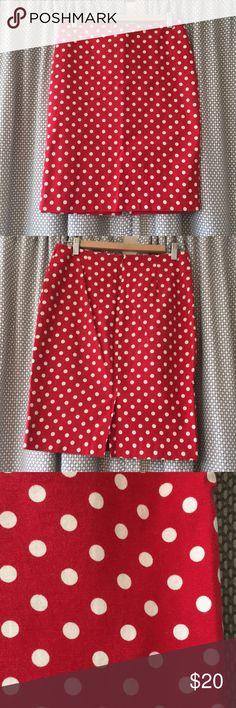 Talbots red polka dot pencil skirt Adorable cotton pencil skirt, great condition. Talbots Skirts Pencil