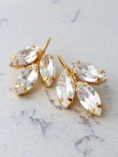 wedding jewelry gift for wife Simple Earrings, Leaf Earrings, Teardrop Earrings, Stud Earrings, Bridesmaid Earrings, Wedding Earrings, Bridesmaids, Swarovski Crystal Earrings, Crystal Jewelry