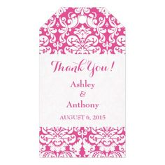 Wedding Thank You Favor Tag Damask Hot Pink White