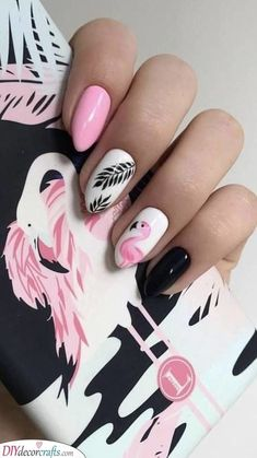 The Boy from the Woods - pink Flamingo nails;pinapple and flamingo nails; Flamingos spring summer nail ar… You are in the r - Gel Manicure Designs, Acrylic Nail Designs, Nail Art Designs, Nails Design, Fruit Nail Designs, Dip Manicure, Fall Manicure, Manicure Ideas, Spring Nail Art