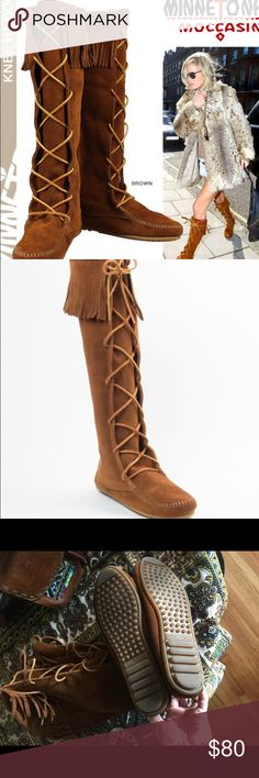 Minnetonka fringe lace up boots Beautiful suede fringe boots. Worn twice Minnetonka Shoes Lace Up Boots