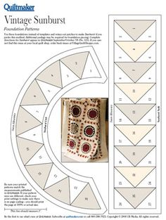 Pattern: Vintage Sunburst.  Quiltmaker SEP/Oct 08 issue 123 for instructions and this link for PDF pattern