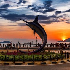 A statue of a swordfish in the city of #KotaKinabalu #Malaysia Re-post by Hold With Hope