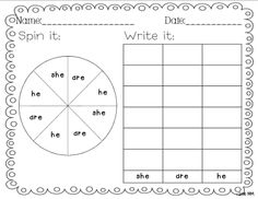 Spin and Write sight word practice