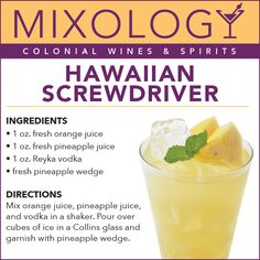 Hawaiian Screwdriver – Colonial Wines & Spirits // Featuring: Vodka, orange & pineapple juices with fresh fruit! Liquor Drinks, Cocktail Drinks, Cocktail Recipes, Alcoholic Drinks, Margarita Recipes, Beverage, Mixed Drinks Alcohol, Alcohol Drink Recipes, Summer Drinks