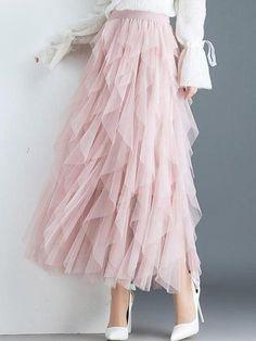 Asymmetrical Vertical Ruffles Long Skirts : One Size: waist Gender: WomenDresses Length: Ankle-LengthStyle: GothicWaistline: EmpireSilhouette: AsymmetricalPattern Type: PatchworkDecoration: Rufflespleated skirt: streetwearMaterial: Mesh, Polyester, Lace Long Skirt Outfits, Girly Outfits, Stylish Outfits, Long Skirts, Dress Long, Stylish Clothes, Long Pink Skirt, Long Lace Skirt, Fancy Skirts