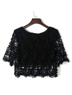 Black Half Sleeve Lace Crochet Cropped Top - Tops - Shop All Chic | WithChic