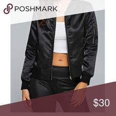 Zip satin bomber jacket❤️ Bomber jackets are the newest trend this fall and winter season. Wear this with some sneakers for a casual street look, or dress it up with a scarf. Material : polyester. I am 5'7 120 lbs and I wear a small. Zipper is gold not silver as shown Jackets & Coats