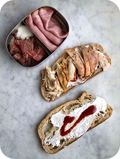 Easy lunch box ideas: maple-pepper grilled chicken on rye with sour cream and barbecue sauce; grilled bison steak with sour cream; and ham. ...