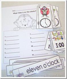 Tell time three ways- add one hour before/after Teaching First Grade, 1st Grade Math, Teaching Math, Second Grade, Math Work, Fun Math, Maths, Word Work, Math Resources