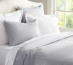 700 Thread-Count Sateen Applique Duvet Cover & Sham #potterybarn. On sale for limited time. Duvet $254 Sham $67 Euro $67 plus euro inserts. (Approx $765 before sheets)