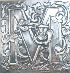 Initial letter M monogram picture in Pewter by ARCHIVES on Etsy Pewter Art, Pewter Metal, Aluminum Foil Art, Soda Can Crafts, Metal Embossing, Tin Art, Copper Art, Shadow Art, Metal Artwork