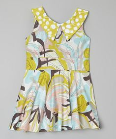 Look at this #zulilyfind! Yellow & Aqua Vintage Watercolor Collar Dress by Kalliope Kids is perfect for the little fashionista in your life! - Toddler & Girls #zulilyfinds #kalliopekids #spring #summer