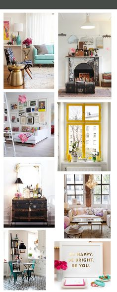 apartment decor inspiration1 the glossy guide: make your apartment a home-- quite enjoy the wallpapered fireplace that houses books. So Fahrenheit 451