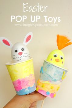 Simple to make is this handmade Easter pop up toy craft for kids. Cute and fun to play with, they are a great activity for kids in the lead up to Easter. Easter Toys, Easter Art, Easter Treats, Bunny Crafts, Easter Crafts For Kids, Easter Activities For Toddlers, Crafts For Kids To Make, Toy Craft, Holiday Crafts