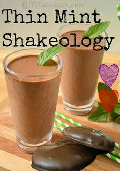 Thin Mint Shakeology   1 scoop of chocolate shakeology  1/2 banana  4oz almond milk and 4oz of water  2-3 drops mint extract   blend with ice