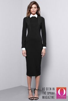 Removable Collar Dress. Love this slimming silhouette.
