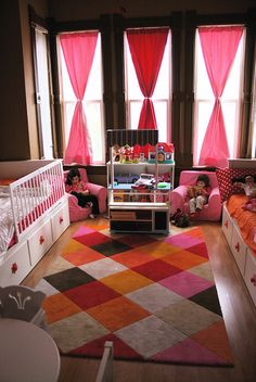 Shared kids room, love the use of space with the windows
