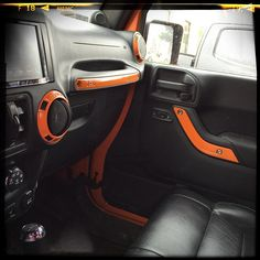 color matched interior for Jeep Orange Jeep Wrangler, Jeep Wrangler Jk, Jeep Wrangler Accessories, Jeep Accessories, Interior Design Courses Online, Interior Design Companies, Jeep Wrangler Interior, Orange Accessories, White Jeep