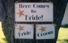 Beach Wedding Sign Package Starfish Here Comes The Bride and Bride & Groom chair signs Tropical Weddings Maui Weddings Nautical Weddings