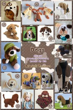 Free and paid patterns  Dogs Part 1 | Animal Crochet Pattern Round Up for Hound Dogs via @beckastreasures
