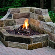 gas-powered fireplace sits in the corner of a patio to give optimum light and heat to the area and provide lovely ambiance.This gas-powered fireplace sits in the corner of a patio to give optimum light and heat to the area and provide lovely ambiance.