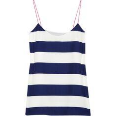 Tibi Striped crepe tank ($175) ❤ liked on Polyvore featuring tops, shirts, tank tops, tanks, blusas, stripe tank, shirts & tops, striped top, blue tank top and blue top