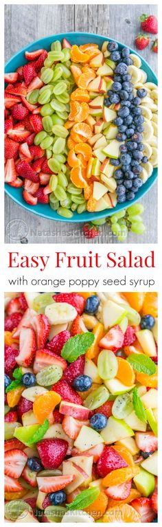 Fruit Salad with Orange Poppy Seed Syrup is so easy & perfect for parties! This Fruit Salad with Orange Poppy Seed Syrup is so easy & perfect for parties!, This Fruit Salad with Orange Poppy Seed Syrup is so easy & perfect for parties! Healthy Recipes, Healthy Fruits, Fruits And Veggies, Healthy Snacks, Healthy Eating, Cooking Recipes, Comidas Light, Fruit Salad Recipes, Fruit Salads