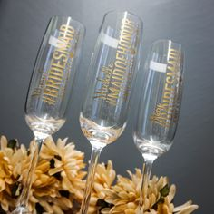 Our custom engraved champagne flutes! Made for my bridesmaid's baskets. Will you be my maid of honor? Will you be my bridesmaid?