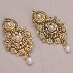 Online Shopping for Designer White Pearls Earrings Indian Accessories, Bridal Accessories, Bridal Jewelry, Jewelry Accessories, Jewelry Design, Indian Earrings, Unique Earrings, Beautiful Earrings, Unique Jewelry