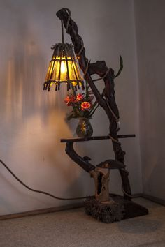handmade floor lamp made of dried wood and rope | Rustic Floor Lamp ...