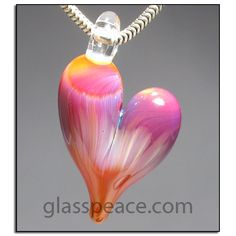 Glass Heart Pendant lampwork bead necklace focal by Allison Hill ~ www.glasspeace.com