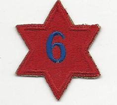 """Us Army Patch - 6th Infantry Division - Pre Wwii Patch - Number """"6"""" On Patch"""