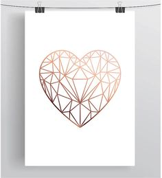 Copper Love Heart Print Rose Gold Printable Art por PrintAvenue
