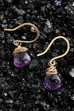 Amethyst & Gold Drop Earrings by Finch and Flower on Etsy, $26.00  Photography by Daniel Nathaniel