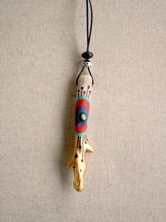 Driftwood. Geometric hand painted pendant. One of a kind. 06. $36,00, via Etsy.