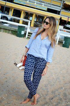 beach blues. (www.justjem.com) | blue harem pant | linen top | dolce vita flats