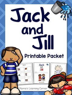 Jack and Jill Nursery Rhyme Packet Preschool Activities At Home, Nursery Rhymes Preschool, Nursery Rhyme Theme, Rhyming Activities, Classroom Activities, Physics Classroom, Classroom Themes, Learning Activities, Teaching Ideas